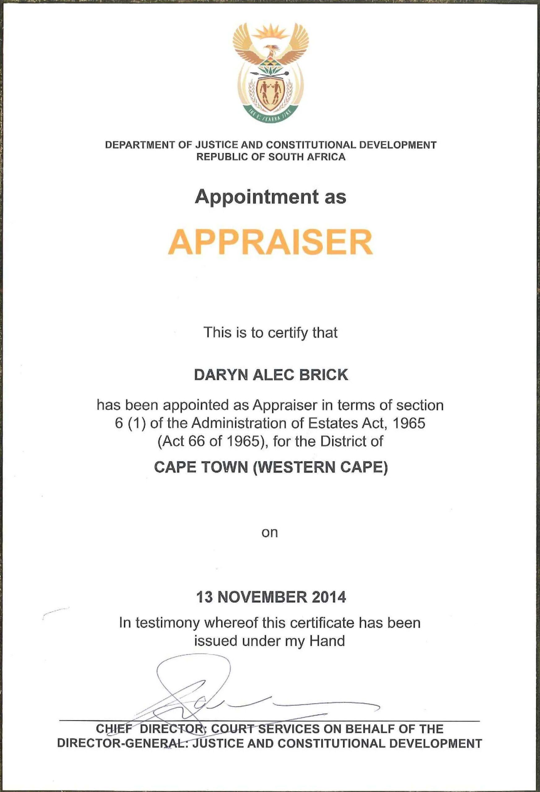 Darryn Brick Appraisals